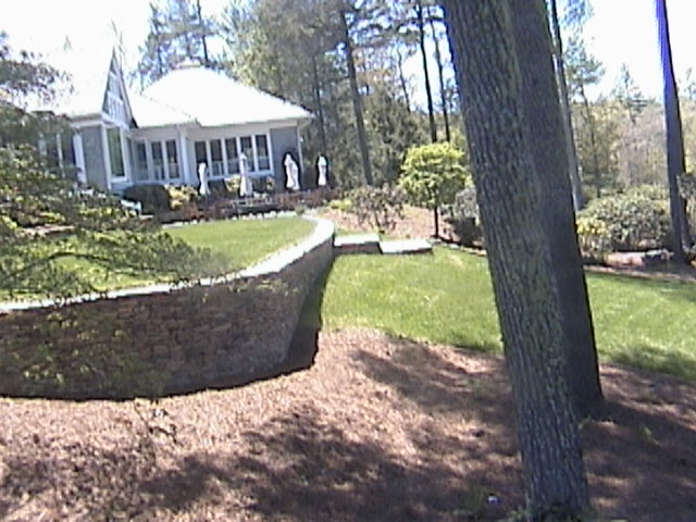 Masonry Stone Wall at Wade Hampton Golf Course Installed by Stoneman, Inc.